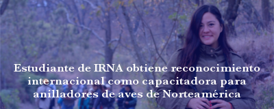 Banner: Estudiante reconocida como capacitadora para anilladores de aves de Norteamérica